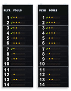 Statistics scoreboards, showing the Player No. and Fouls/Penalties of 14 players on the 2 teams