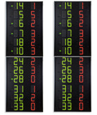 Statistics scoreboards (side displays) showing the Player No. and Fouls/Penalties of 12 players on the 2 teams