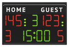 Multisport scoreboard suitable for multidiscipline use (basketball, volleyball, futsal, etc.).