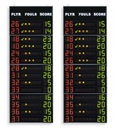 Statistics scoreboards, showing the Player No., Fouls/Penalties and Points of 14 players on the 2 teams
