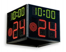 FIBA approved Basketball 24 Second Shot Clock timer and game time, Four-sided