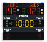 Multisport scoreboard with programmable team-names - FIBA approved electronic scoreboard